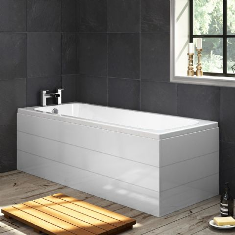 Planked High Gloss White 1 Piece Bath Panels